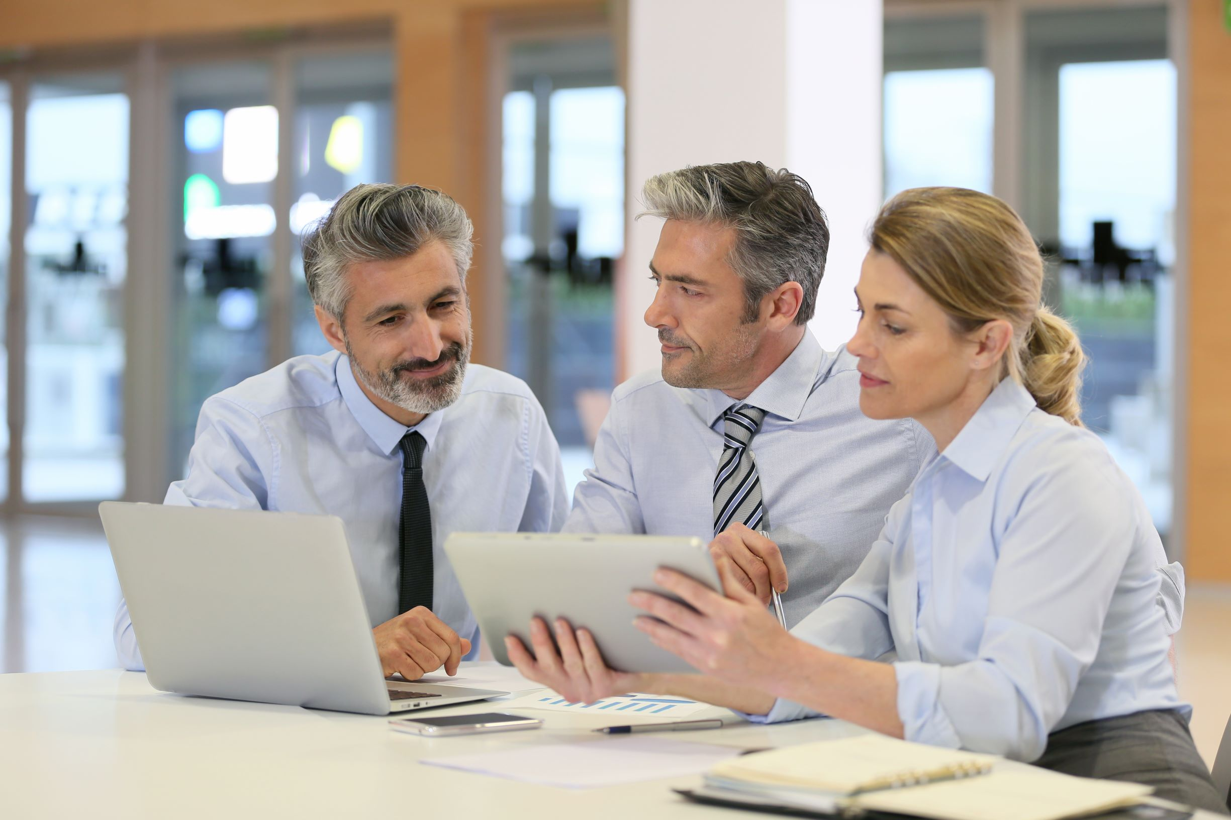 Technology consultants using computers to discuss the design of possible VoIP solutions for businesses